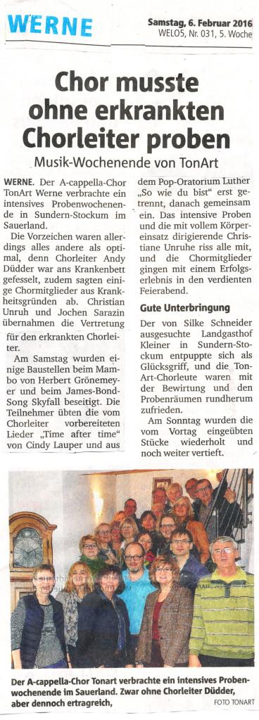 """Ruhr-Nachrichten 6.2.2016: """"Chor musste ohne erkrankten Chorleiter proben"""""""