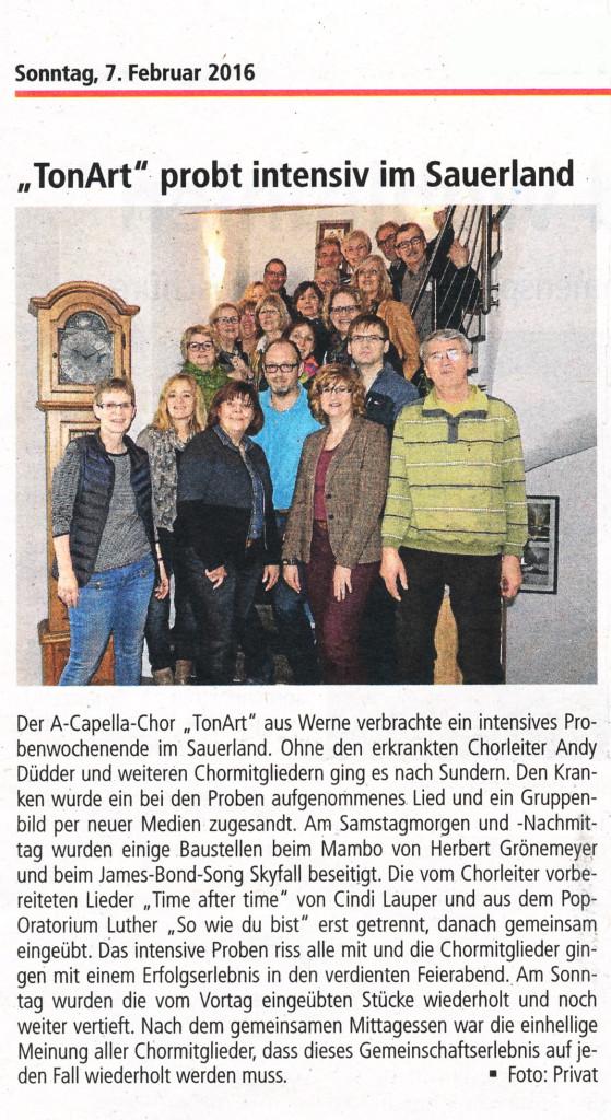 """Sonntagskurier 7.2.2016: """" 'Tonart' probte intensiv im Sauerland"""