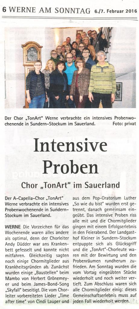"""Werne am Sonntag 6./7.2.2016: """"Intensive Proben - Chor 'TonArt'' im Sauerland"""""""